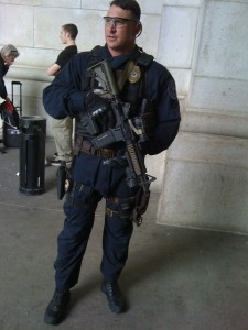 This guy was standing guard outside union station when we departed.